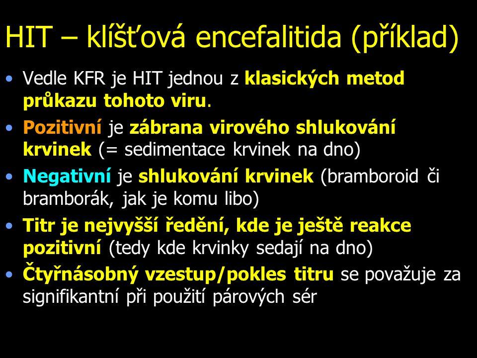 HIT – klíšťová encefalitida (příklad) Vedle KFR je HIT jednou z klasických metod průkazu tohoto viru.