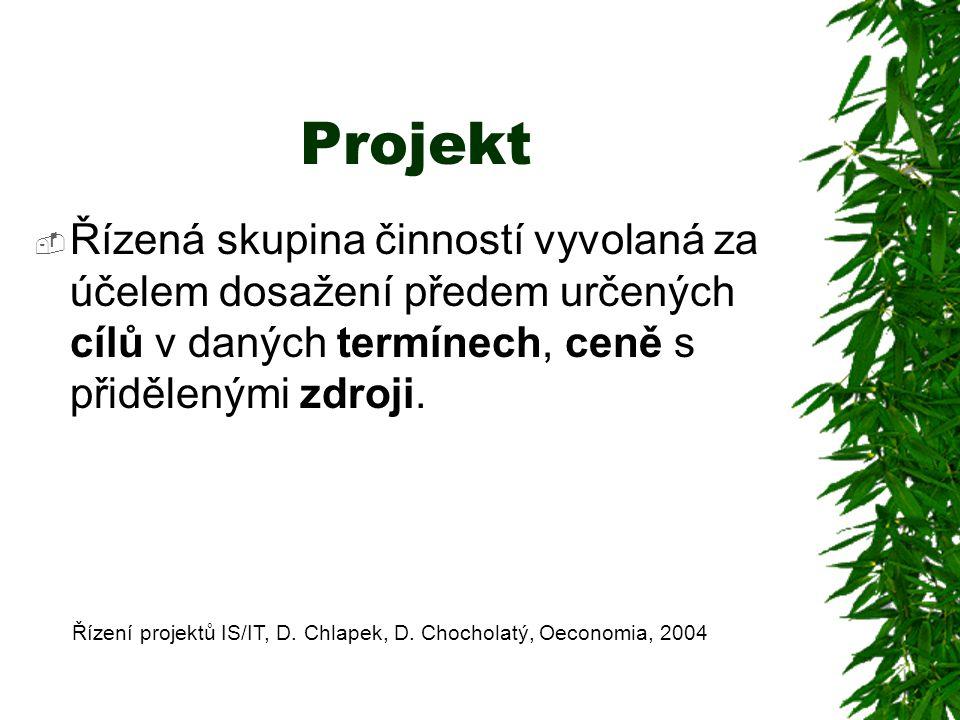 Projekt  Řízená skupina činností vyvolaná za účelem dosažení předem určených cílů v daných termínech, ceně s přidělenými zdroji. Řízení projektů IS/I