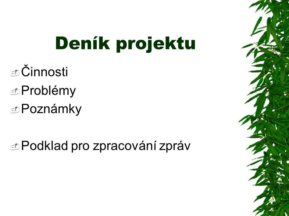 Deník projektu  Činnosti  Problémy  Poznámky  Podklad pro zpracování zpráv