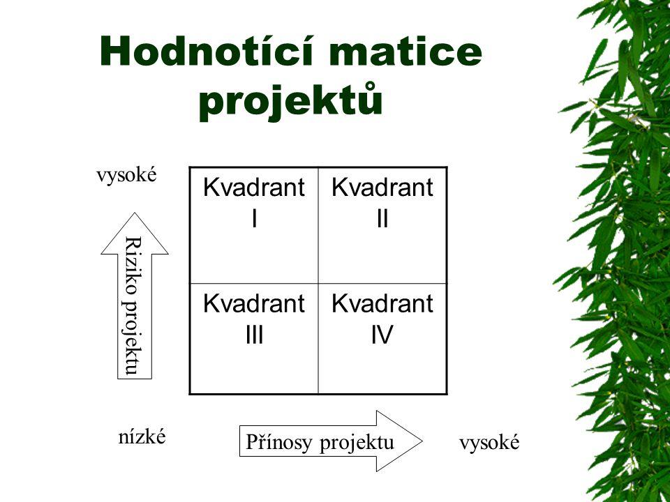 Hodnotící matice projektů Kvadrant I Kvadrant II Kvadrant III Kvadrant IV Přínosy projektu Riziko projektu nízké vysoké