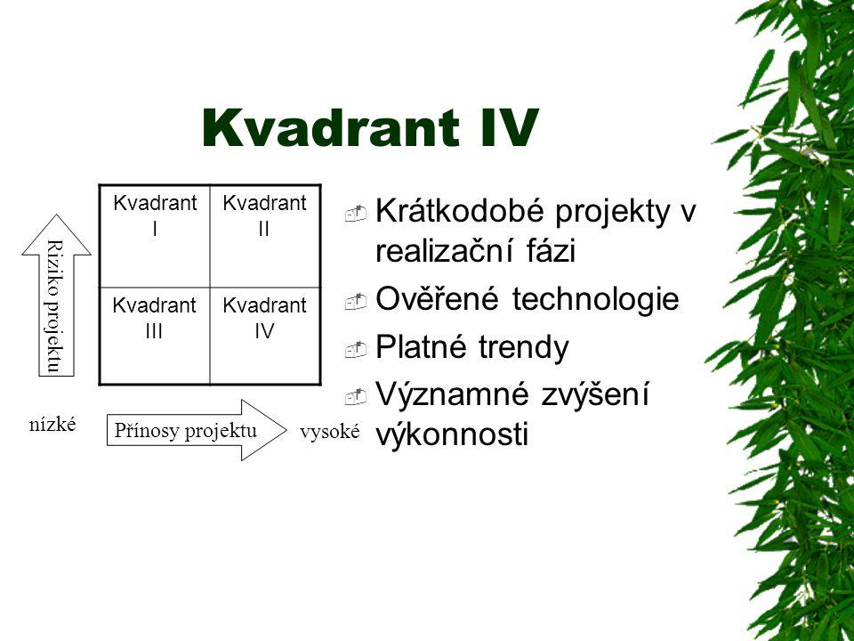 Kvadrant IV  Krátkodobé projekty v realizační fázi  Ověřené technologie  Platné trendy  Významné zvýšení výkonnosti Kvadrant I Kvadrant II Kvadran