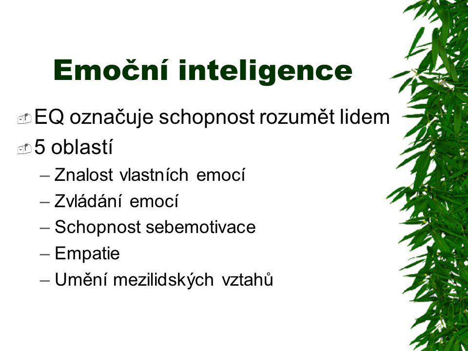 Emoční inteligence  EQ označuje schopnost rozumět lidem  5 oblastí –Znalost vlastních emocí –Zvládání emocí –Schopnost sebemotivace –Empatie –Umění
