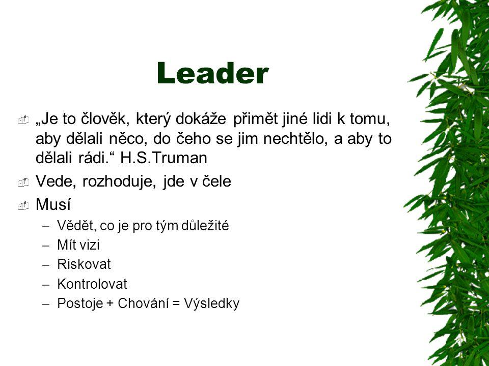 """Leader  """"Je to člověk, který dokáže přimět jiné lidi k tomu, aby dělali něco, do čeho se jim nechtělo, a aby to dělali rádi."""" H.S.Truman  Vede, rozh"""