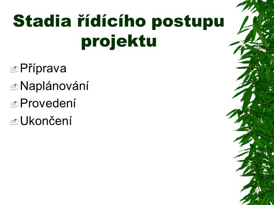 Stadia řídícího postupu projektu  Příprava  Naplánování  Provedení  Ukončení