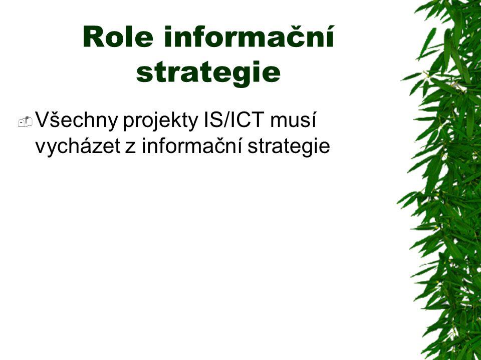 Role informační strategie  Všechny projekty IS/ICT musí vycházet z informační strategie