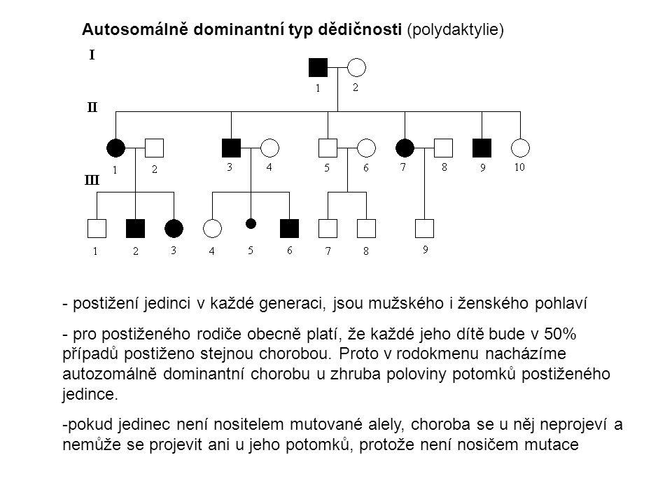 Autosomálně recesivní typ dědičnosti (fenylketonurie) - postižení se nevyskytují v každé generaci, spíše ob generaci a postižení jedinci se rodí fenotypově zdravým jedincům.