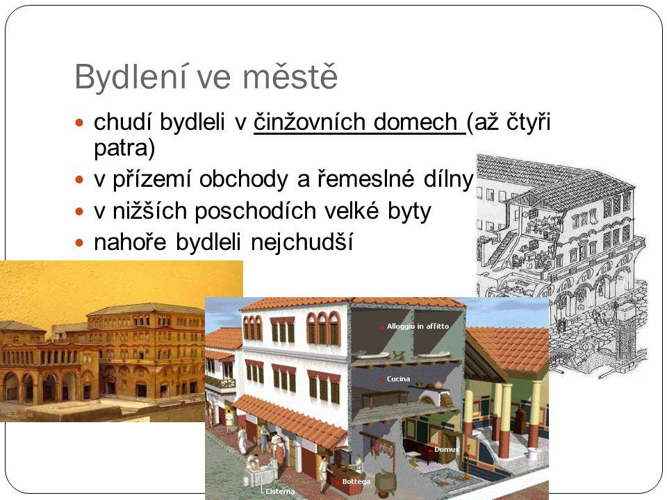 Bydlení ve městě chudí bydleli v činžovních domech (až čtyři patra) v přízemí obchody a řemeslné dílny v nižších poschodích velké byty nahoře bydleli nejchudší