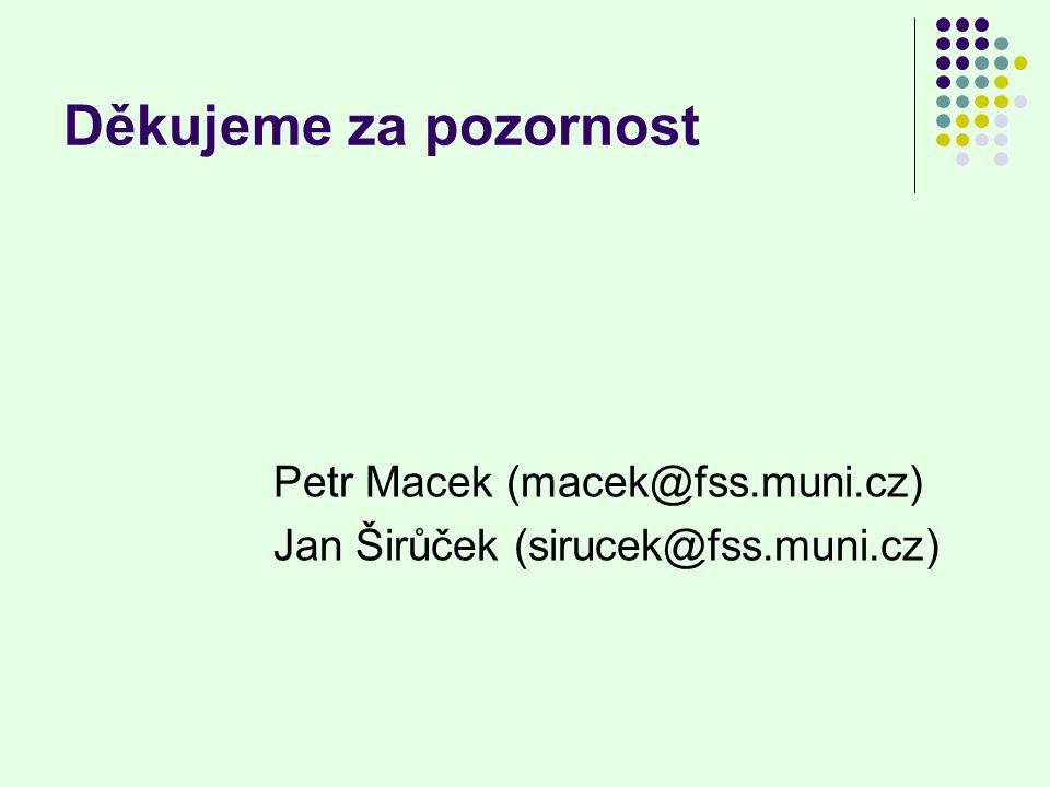 Děkujeme za pozornost Petr Macek (macek@fss.muni.cz) Jan Širůček (sirucek@fss.muni.cz)
