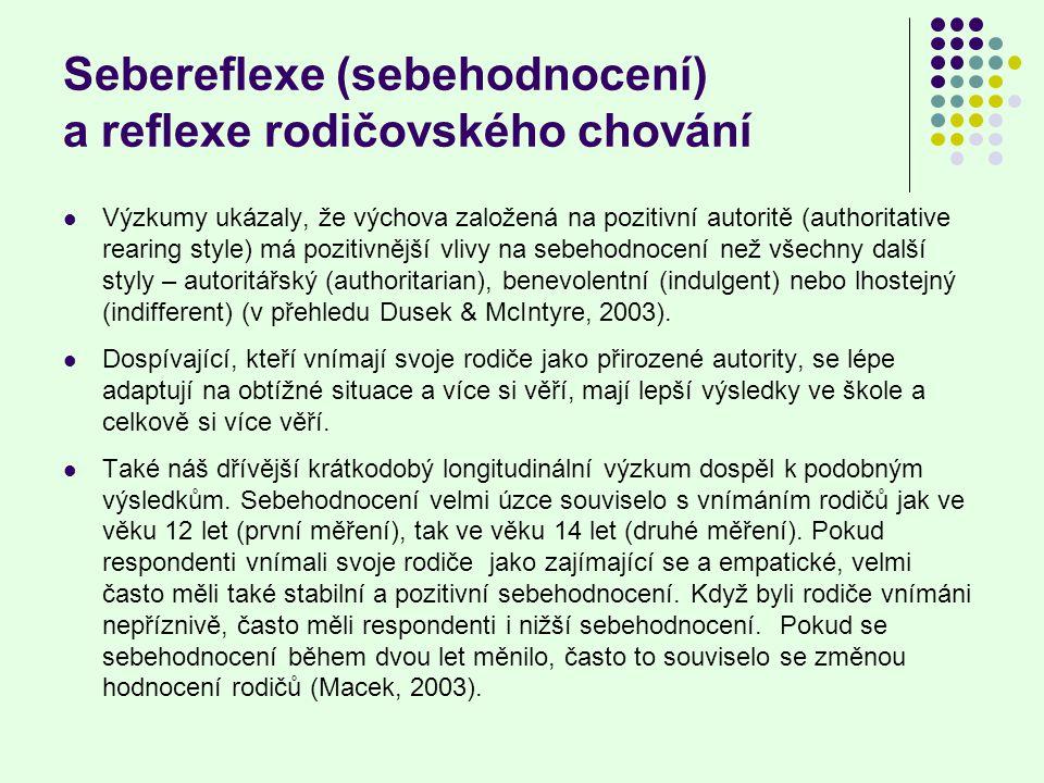 Sebereflexe (sebehodnocení) a reflexe rodičovského chování Výzkumy ukázaly, že výchova založená na pozitivní autoritě (authoritative rearing style) má