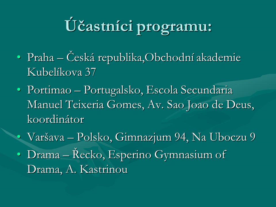 Účastníci programu: Praha – Česká republika,Obchodní akademie Kubelíkova 37Praha – Česká republika,Obchodní akademie Kubelíkova 37 Portimao – Portugalsko, Escola Secundaria Manuel Teixeria Gomes, Av.