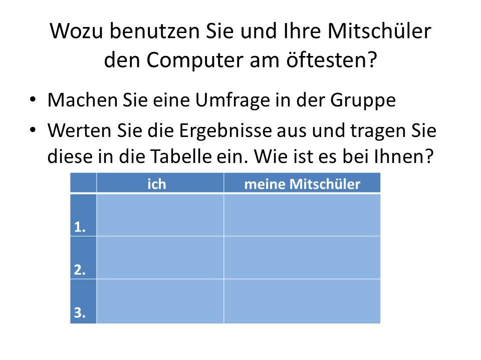 Wozu benutzen Sie und Ihre Mitschüler den Computer am öftesten? Machen Sie eine Umfrage in der Gruppe Werten Sie die Ergebnisse aus und tragen Sie die