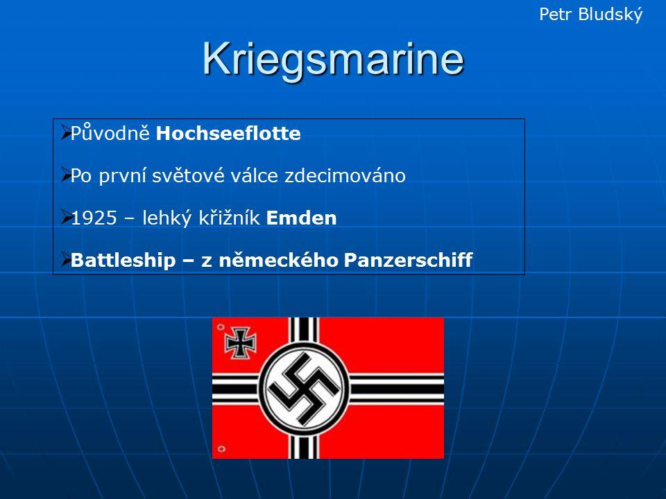 Kriegsmarine  Původně Hochseeflotte  Po první světové válce zdecimováno  1925 – lehký křižník Emden  Battleship – z německého Panzerschiff Petr Bludský