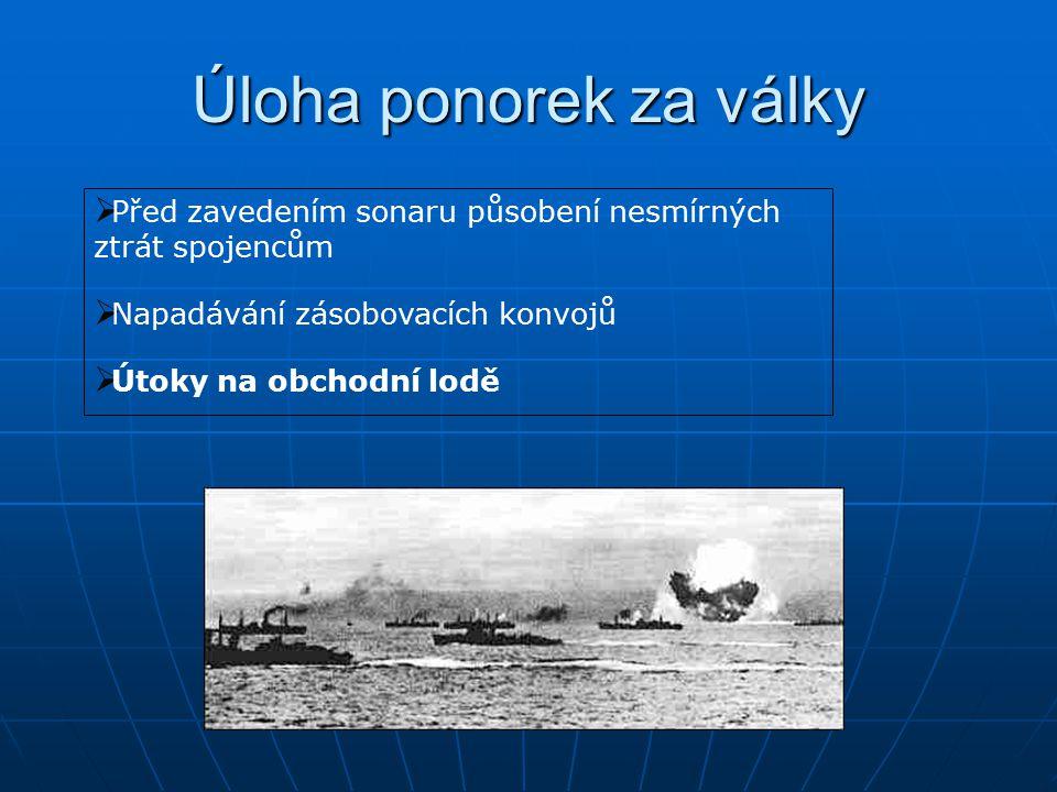 Úloha ponorek za války  Před zavedením sonaru působení nesmírných ztrát spojencům  Napadávání zásobovacích konvojů  Útoky na obchodní lodě