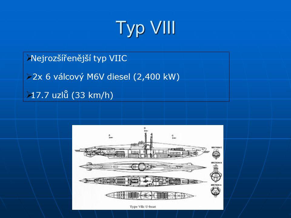 Typ VIII  Nejrozšířenější typ VIIC  2x 6 válcový M6V diesel (2,400 kW)  17.7 uzlů (33 km/h)