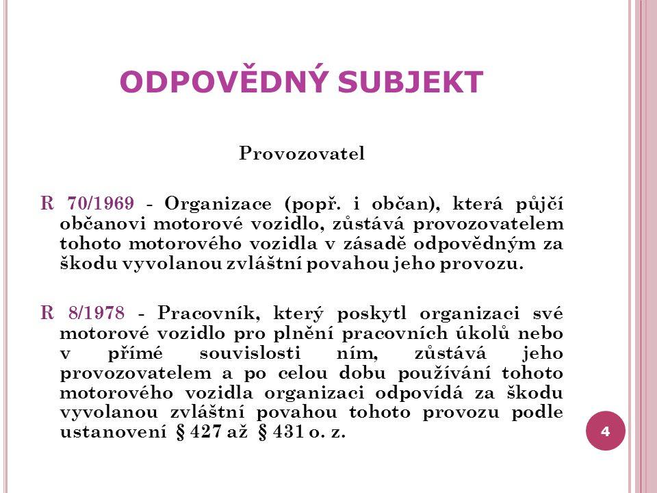 ODPOVĚDNÝ SUBJEKT Provozovatel R 70/1969 - Organizace (popř. i občan), která půjčí občanovi motorové vozidlo, zůstává provozovatelem tohoto motorového