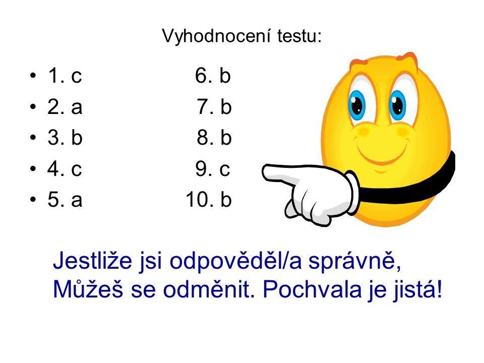 Vyhodnocení testu: 1. c 6. b 2. a 7. b 3. b 8.