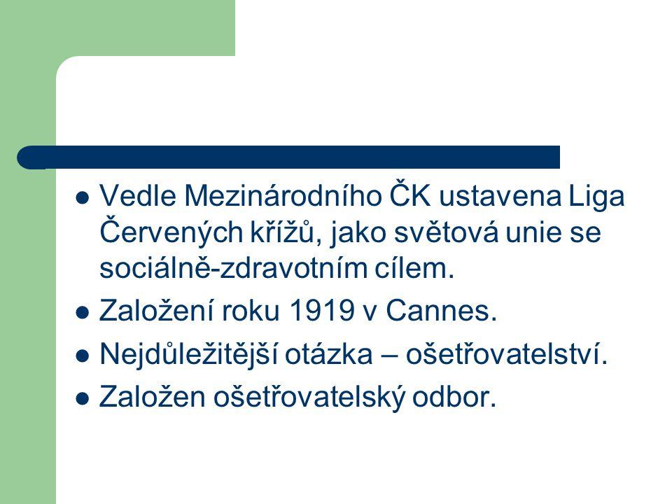 Vedle Mezinárodního ČK ustavena Liga Červených křížů, jako světová unie se sociálně-zdravotním cílem. Založení roku 1919 v Cannes. Nejdůležitější otáz