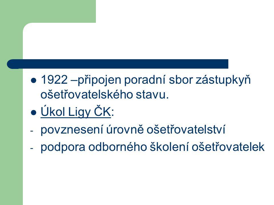 1922 –připojen poradní sbor zástupkyň ošetřovatelského stavu. Úkol Ligy ČK: - povznesení úrovně ošetřovatelství - podpora odborného školení ošetřovate