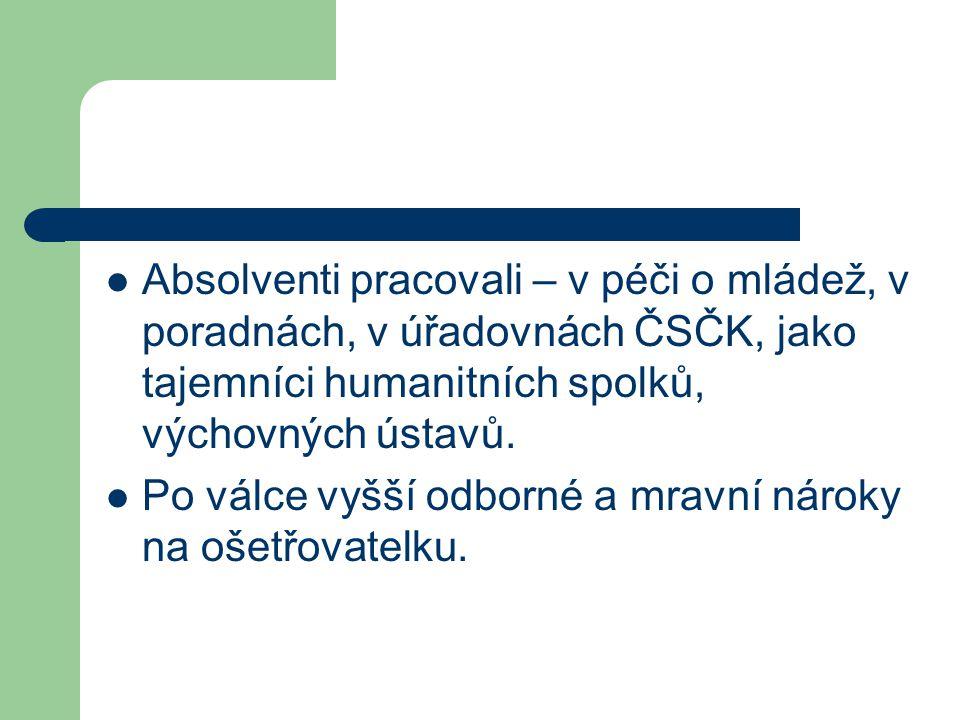 Absolventi pracovali – v péči o mládež, v poradnách, v úřadovnách ČSČK, jako tajemníci humanitních spolků, výchovných ústavů. Po válce vyšší odborné a