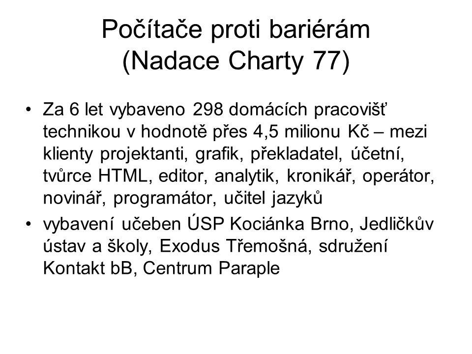 Počítače proti bariérám (Nadace Charty 77) Za 6 let vybaveno 298 domácích pracovišť technikou v hodnotě přes 4,5 milionu Kč – mezi klienty projektanti, grafik, překladatel, účetní, tvůrce HTML, editor, analytik, kronikář, operátor, novinář, programátor, učitel jazyků vybavení učeben ÚSP Kociánka Brno, Jedličkův ústav a školy, Exodus Třemošná, sdružení Kontakt bB, Centrum Paraple