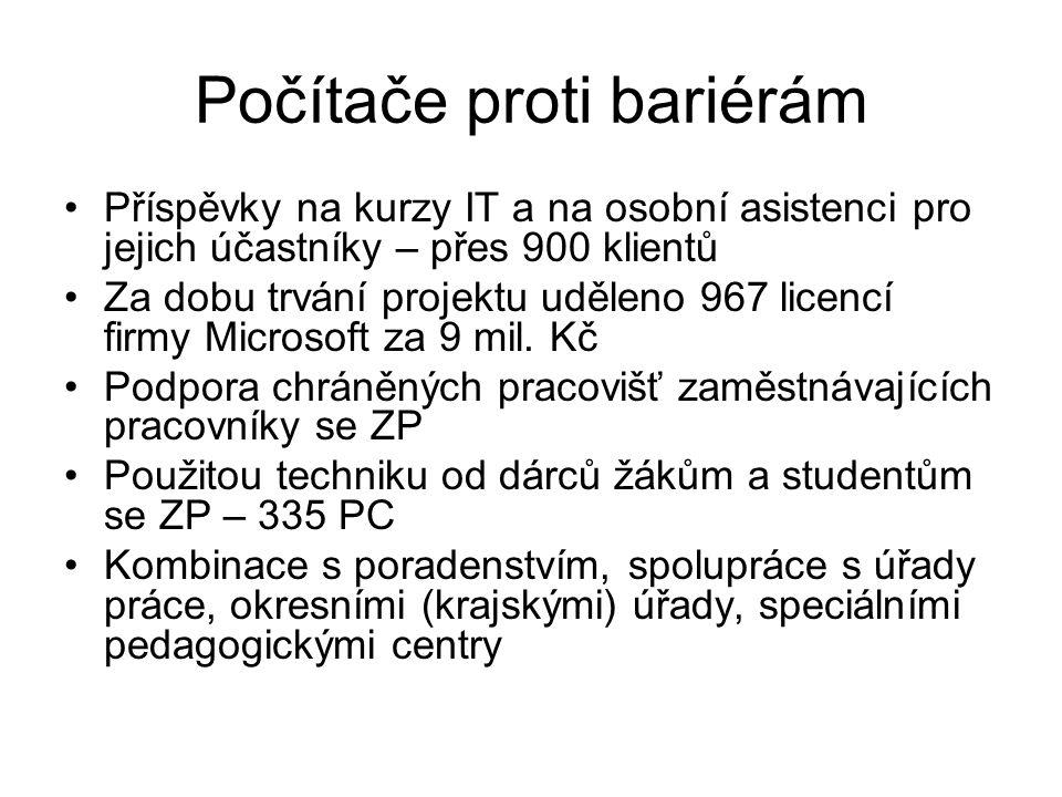 Počítače proti bariérám Příspěvky na kurzy IT a na osobní asistenci pro jejich účastníky – přes 900 klientů Za dobu trvání projektu uděleno 967 licenc