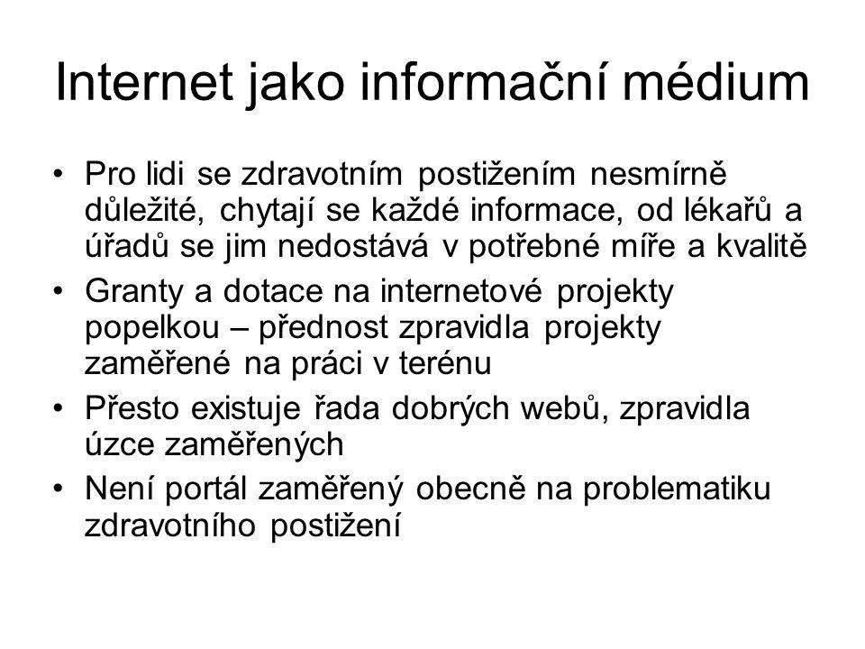 Internet jako informační médium Pro lidi se zdravotním postižením nesmírně důležité, chytají se každé informace, od lékařů a úřadů se jim nedostává v