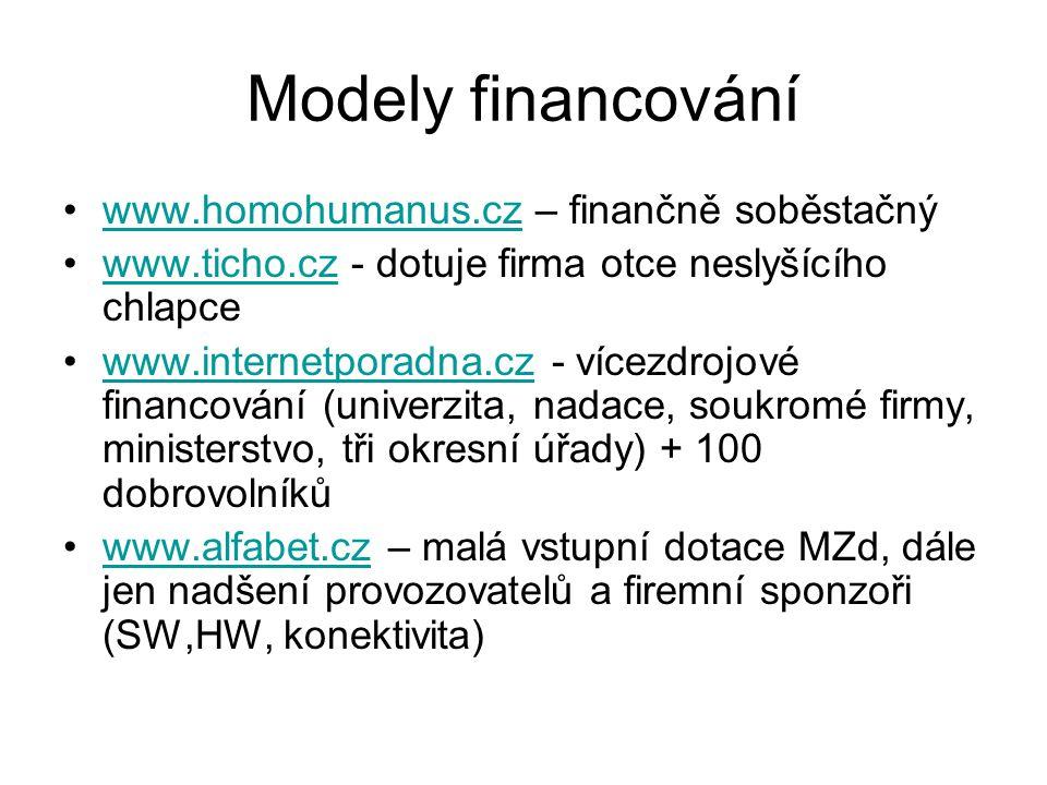 Modely financování www.homohumanus.cz – finančně soběstačnýwww.homohumanus.cz www.ticho.cz - dotuje firma otce neslyšícího chlapcewww.ticho.cz www.internetporadna.cz - vícezdrojové financování (univerzita, nadace, soukromé firmy, ministerstvo, tři okresní úřady) + 100 dobrovolníkůwww.internetporadna.cz www.alfabet.cz – malá vstupní dotace MZd, dále jen nadšení provozovatelů a firemní sponzoři (SW,HW, konektivita)www.alfabet.cz