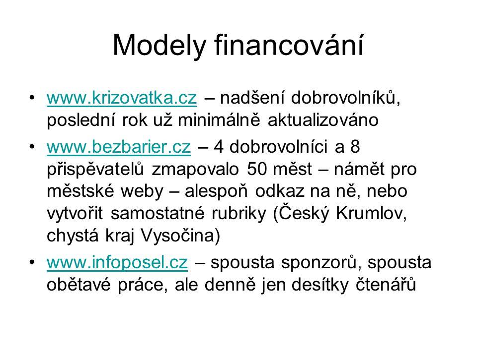 Modely financování www.krizovatka.cz – nadšení dobrovolníků, poslední rok už minimálně aktualizovánowww.krizovatka.cz www.bezbarier.cz – 4 dobrovolníc