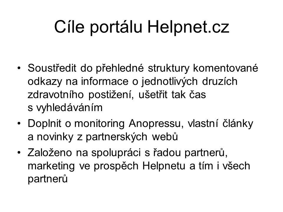 Cíle portálu Helpnet.cz Soustředit do přehledné struktury komentované odkazy na informace o jednotlivých druzích zdravotního postižení, ušetřit tak čas s vyhledáváním Doplnit o monitoring Anopressu, vlastní články a novinky z partnerských webů Založeno na spolupráci s řadou partnerů, marketing ve prospěch Helpnetu a tím i všech partnerů