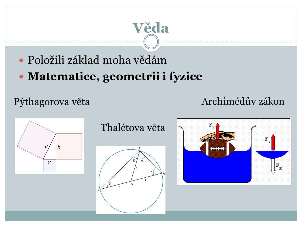 Věda Položili základ moha vědám Matematice, geometrii i fyzice Pýthagorova věta Thalétova věta Archimédův zákon