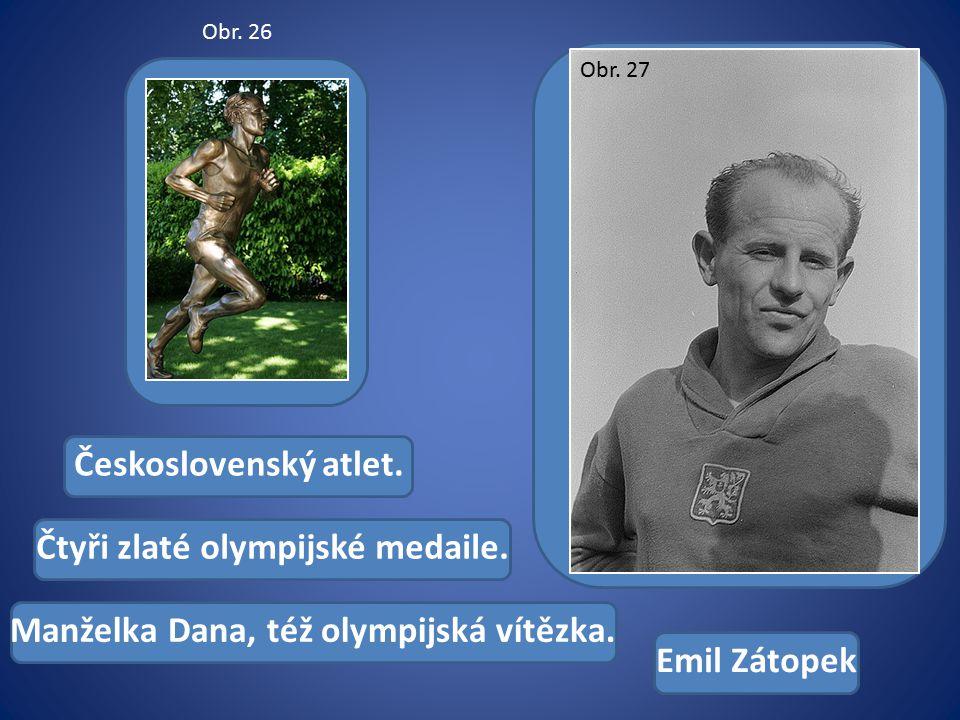 Československý atlet. Čtyři zlaté olympijské medaile.