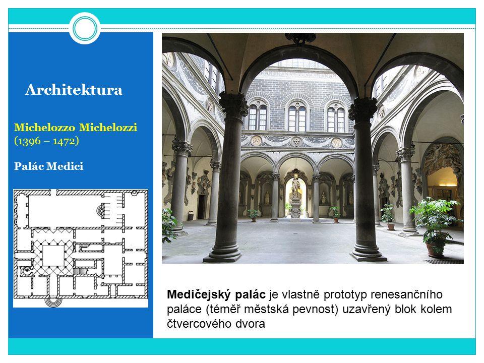 Architektura Michelozzo Michelozzi (1396 – 1472) Palác Medici Medičejský palác je vlastně prototyp renesančního paláce (téměř městská pevnost) uzavřen