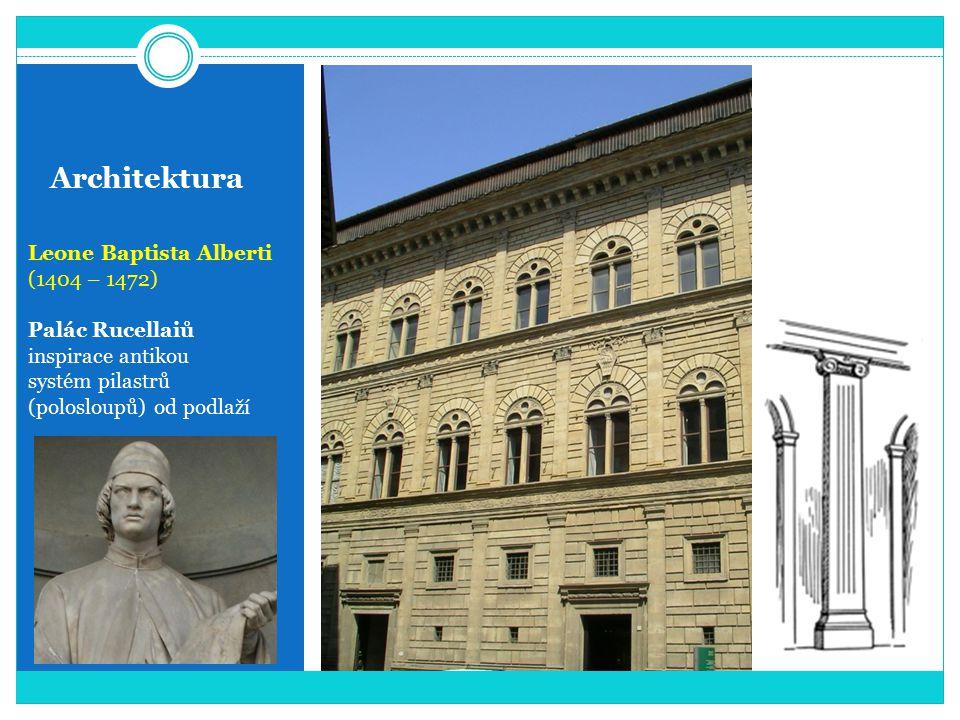 Architektura Leone Baptista Alberti (1404 – 1472) Palác Rucellaiů inspirace antikou systém pilastrů (polosloupů) od podlaží