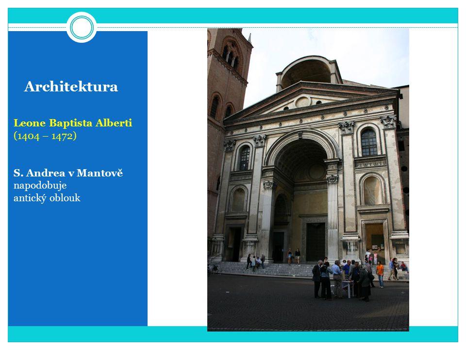 Architektura Leone Baptista Alberti (1404 – 1472) S. Andrea v Mantově napodobuje antický oblouk