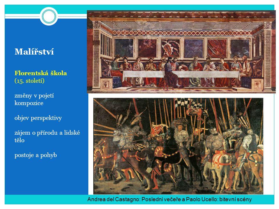 Malířství Florentská škola (15. století) změny v pojetí kompozice objev perspektivy zájem o přírodu a lidské tělo postoje a pohyb Andrea del Castagno: