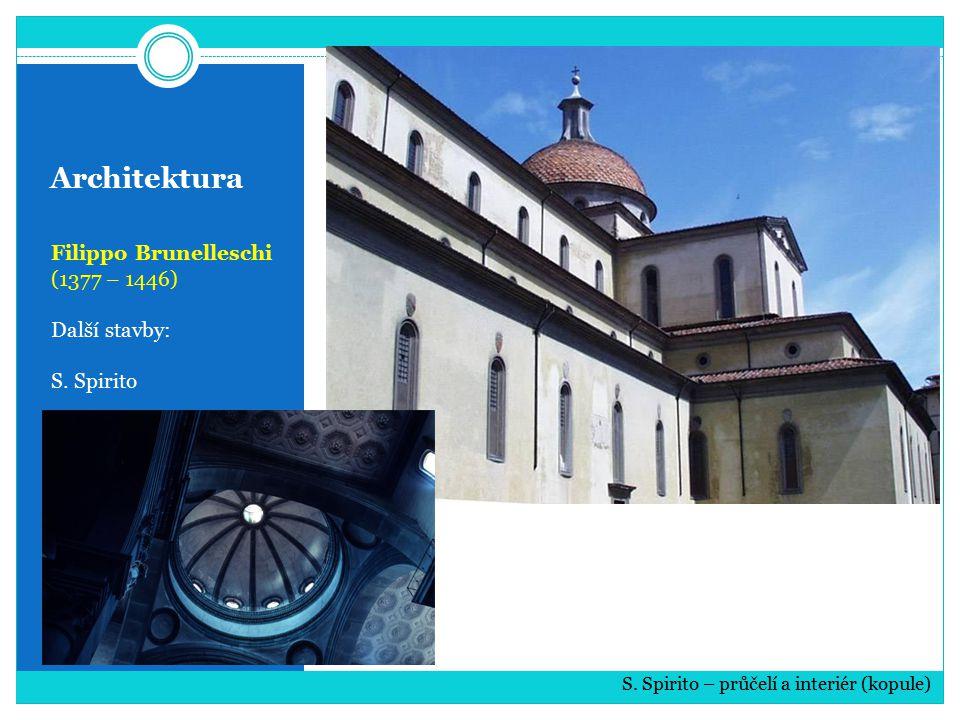 Architektura Filippo Brunelleschi (1377 – 1446) Další stavby: S. Spirito S. Spirito – průčelí a interiér (kopule)