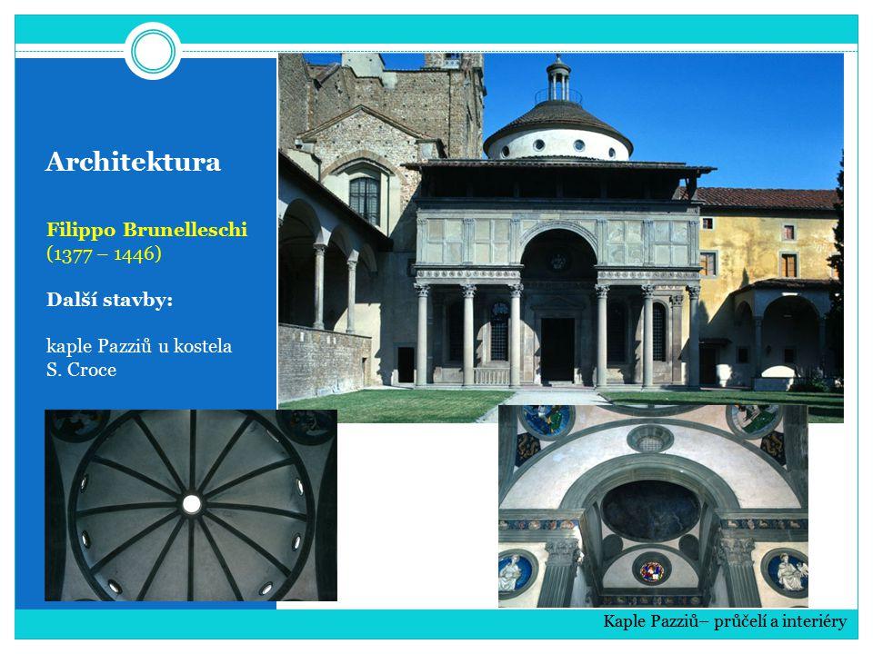 Architektura Filippo Brunelleschi (1377 – 1446) Další stavby: kaple Pazziů u kostela S. Croce Kaple Pazziů– průčelí a interiéry