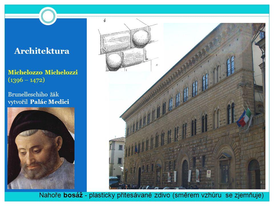 Architektura Michelozzo Michelozzi (1396 – 1472) Brunelleschiho žák vytvořil Palác Medici Nahoře bosáž - plasticky přitesávané zdivo (směrem vzhůru se