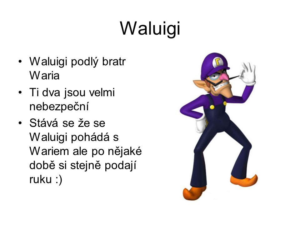 Waluigi Waluigi podlý bratr Waria Ti dva jsou velmi nebezpeční Stává se že se Waluigi pohádá s Wariem ale po nějaké době si stejně podají ruku :)
