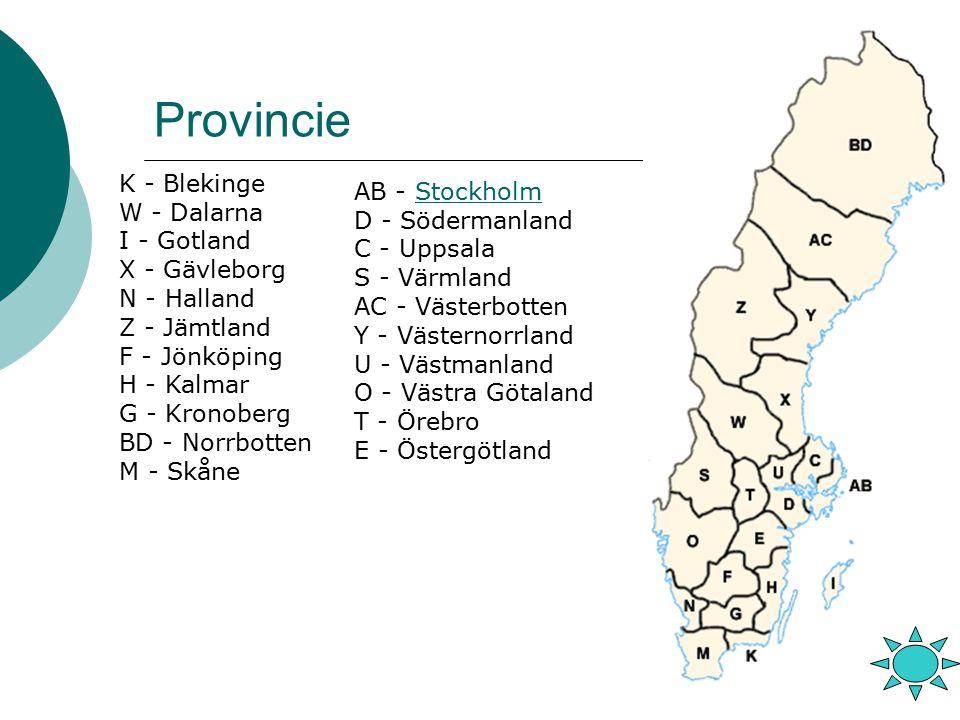 Provincie AB - StockholmStockholm D - Södermanland C - Uppsala S - Värmland AC - Västerbotten Y - Västernorrland U - Västmanland O - Västra Götaland T