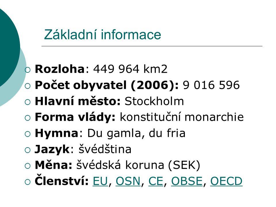 Základní informace  Rozloha: 449 964 km2  Počet obyvatel (2006): 9 016 596  Hlavní město: Stockholm  Forma vlády: konstituční monarchie  Hymna: D