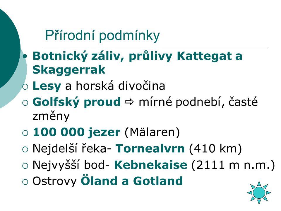 Přírodní podmínky Botnický záliv, průlivy Kattegat a Skaggerrak  Lesy a horská divočina  Golfský proud  mírné podnebí, časté změny  100 000 jezer