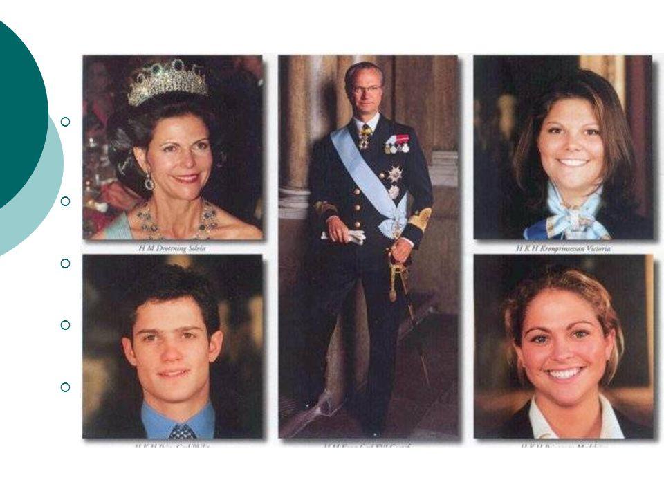 Královská rodina  Carl XVI Gustaf Folke Hubertus - švédský král. narozen 30. dubna 1946, korunován 15. září 1973, oddán 19. června 1976  Silvia Rena