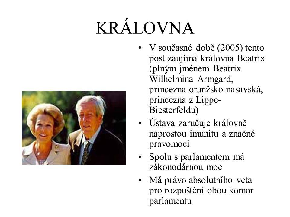 KRÁLOVNA V současné době (2005) tento post zaujímá královna Beatrix (plným jménem Beatrix Wilhelmina Armgard, princezna oranžsko-nasavská, princezna z