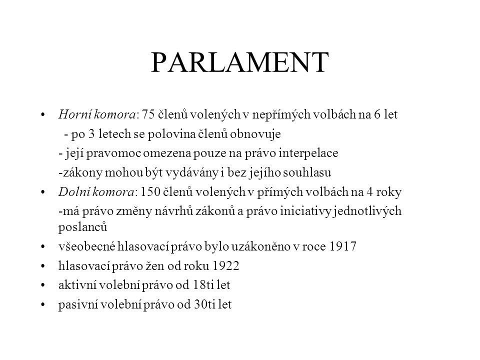 PARLAMENT Horní komora: 75 členů volených v nepřímých volbách na 6 let - po 3 letech se polovina členů obnovuje - její pravomoc omezena pouze na právo