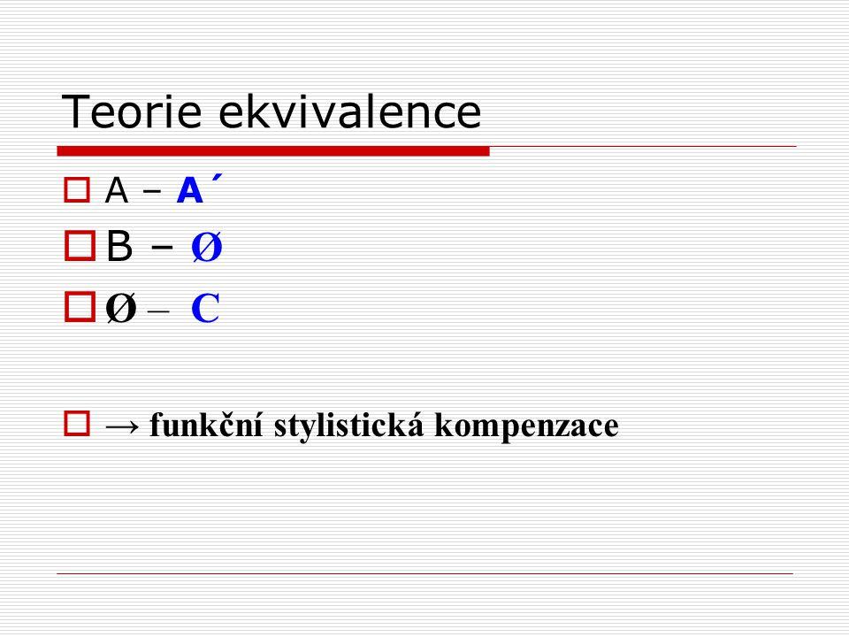 Teorie ekvivalence  A – A´  B – Ø  Ø – C  → funkční stylistická kompenzace