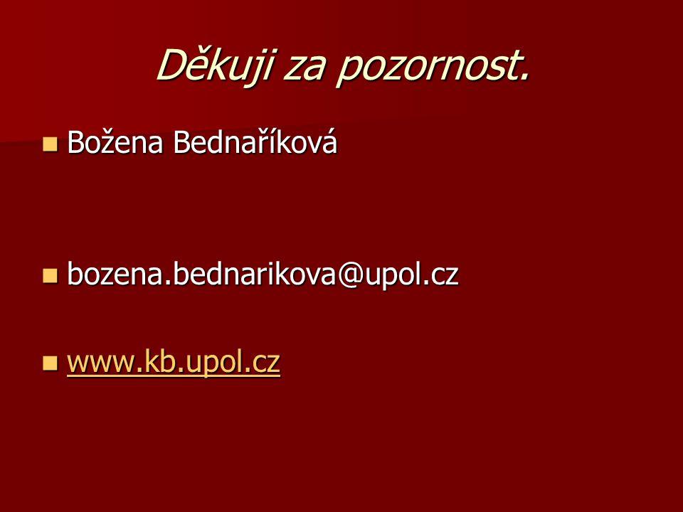 Děkuji za pozornost. Božena Bednaříková Božena Bednaříková bozena.bednarikova@upol.cz bozena.bednarikova@upol.cz www.kb.upol.cz www.kb.upol.cz www.kb.