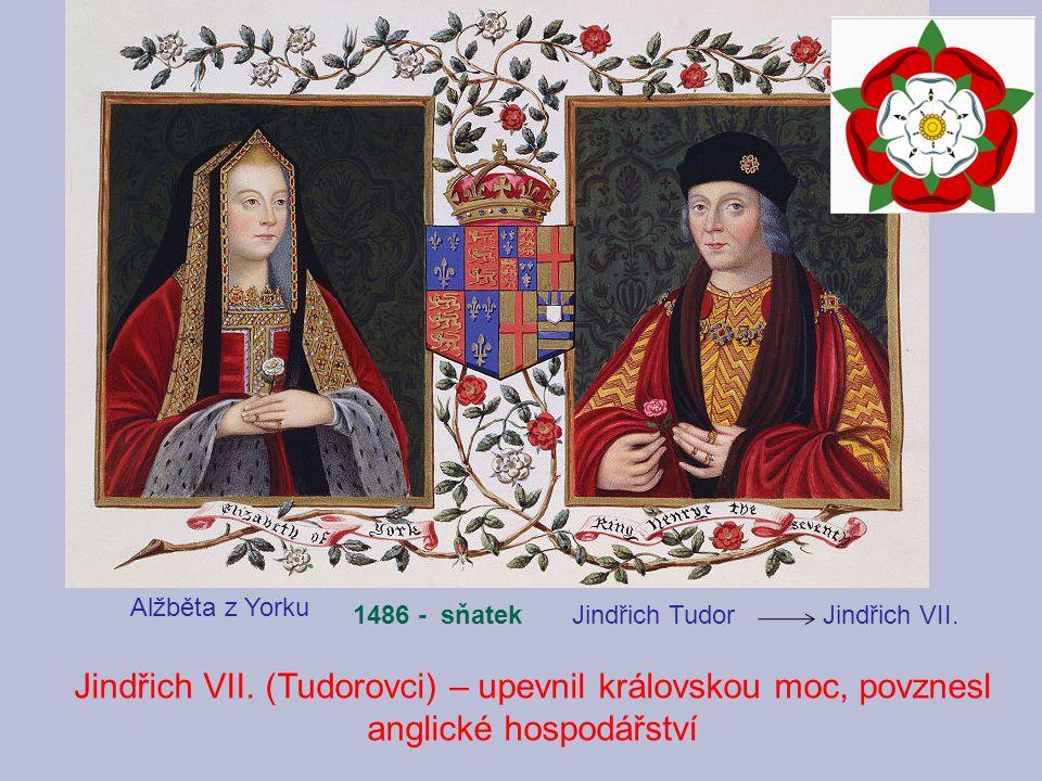 Jindřich Tudor Jindřich VII. Alžběta z Yorku 1486 - sňatek Jindřich VII. (Tudorovci) – upevnil královskou moc, povznesl anglické hospodářství
