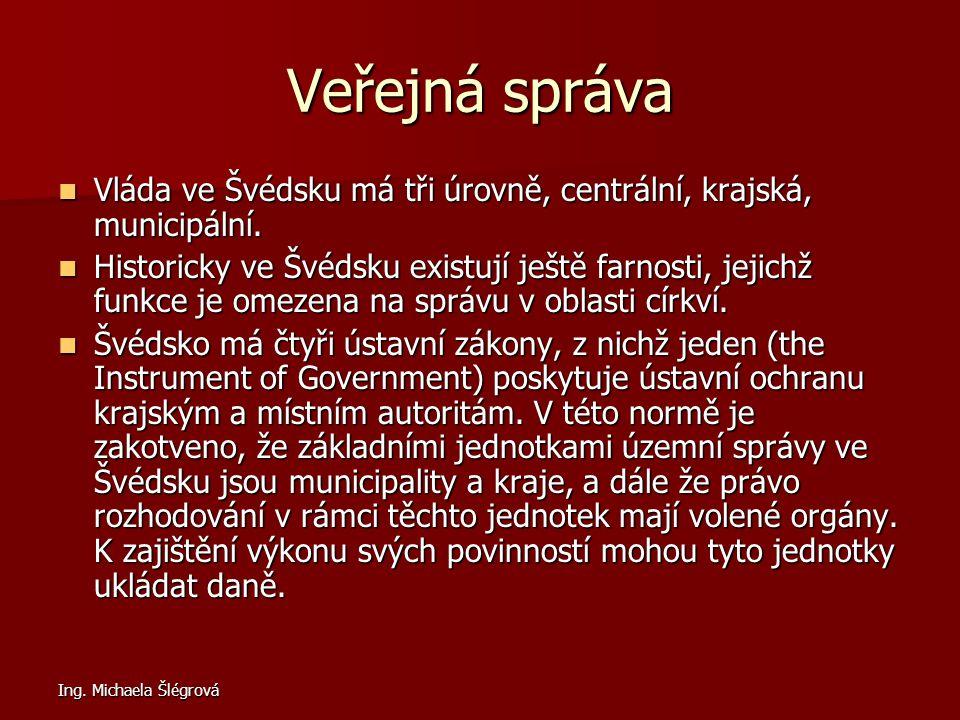 Ing. Michaela Šlégrová Veřejná správa Vláda ve Švédsku má tři úrovně, centrální, krajská, municipální. Vláda ve Švédsku má tři úrovně, centrální, kraj