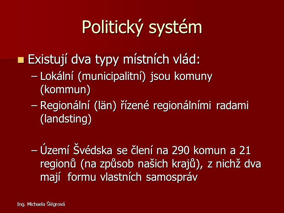 Ing. Michaela Šlégrová Politický systém Existují dva typy místních vlád: Existují dva typy místních vlád: –Lokální (municipalitní) jsou komuny (kommun